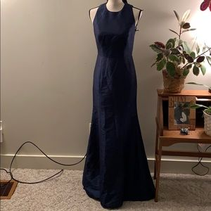 ALFRED SUNG Dresses - Alfred Sung Open Back Trumpet Gown Midnight Blue 4